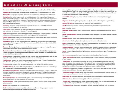 Glossary of Closing Terms